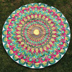 Round Beach Throw with Tribal Feathered Flower Printed -