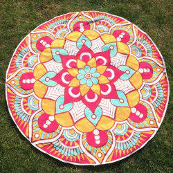 Round Beach Throw with Mandala Flower Printed - COLORMIX ONE SIZE