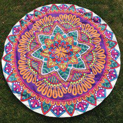 Round Beach Throw with Leaf Flower Printed - PURPLE ONE SIZE