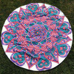 Round Beach Throw with Mandala Flower Totem Printed