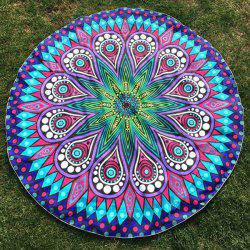Round Plage Throw avec Crystal Flower Paisley Printed - Bleu