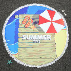 Summer Time Printed Round Beach Throw with Fringed
