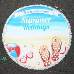 Summer Holidays Printed Round Beach Throw with Fringed