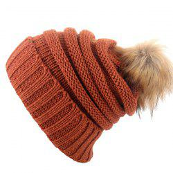 Stripy Flanging Knitted Pom Hat