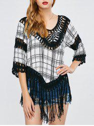 Plaid Tassel Crochet Cover-Up