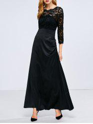 Lace Panel Waisted Long A Line Prom Dress