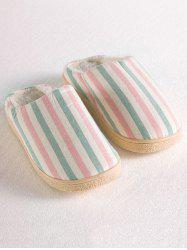Sweet Color Striped Indoor Slippers - PINK