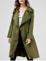 Long Duster Long Wrap Coat - ARMY GREEN