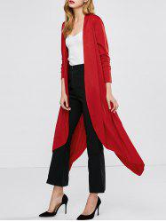 Longline Collarless Duster Coat - RED