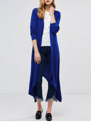 Longline Collarless Maxi Duster Coat - BLUE