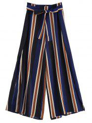 Side Slit Striped Wide Leg Palazzo Pants
