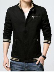 Striped Rib Insert Pocket Zippered Jacket