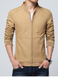 Rib Insert Pocket Zip Up Jacket