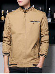 Flocking Zippered Pocket Rib Insert Jacket