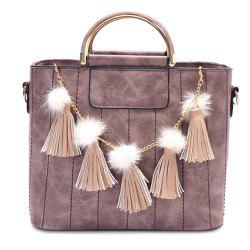 Stitching Tassels Pompoms Tote Bag