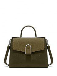 Flapped Suede Panel Textured Handbag