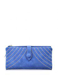 Faux Suede Tassels Checkbook Wallet - BLUE