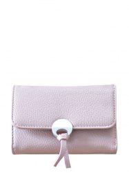Faux Leather Tri Fold Small Wallet - PINK
