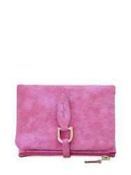 Faux Leather Bi Fold Small Wallet - ROSE RED