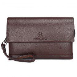 Faux Leather Flapped Clutch Bag -