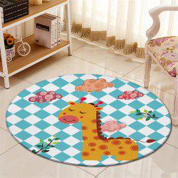 Antislip Round Giraffe Plaid Pattern Fleece Floor Carpet