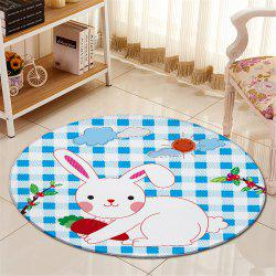 Antislip Round Rabbit Plaid Pattern Fleece Floor Carpet