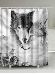 Wolf 3D Digital Printed Shower Curtain - WHITE GREY