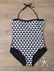 Halter Diamond Print Plus Size One-Piece Swimwear