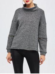 Zipper Turtleneck Pullover Sweater -