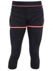 Active Gym Capri Leggings With Shorts - BLACK AND ORANGE