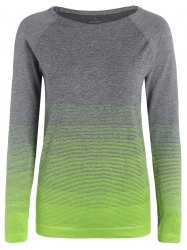 Ombre Long Sleeve Running Gym Top With Thumb Hole - NEON GREEN