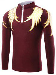 Wing Print Half Zip Up T-Shirt - BURGUNDY
