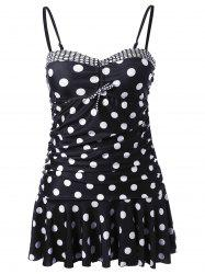 Polka Dot Skirted Underwire Retro Tankini Swimwear
