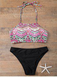 Halter Diamond Print Bikini Set