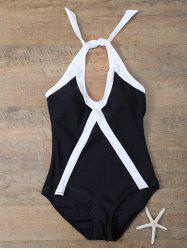 Halter Sports Color Block One-Piece Swimwear