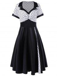 Plus Size Polka Dot Panel Vintage Swing Dress - WHITE AND BLACK