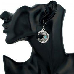 Moon Fake Turquoise Drop Earrings - SILVER
