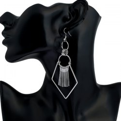 Tassel Geometry Drop Earrings - SILVER