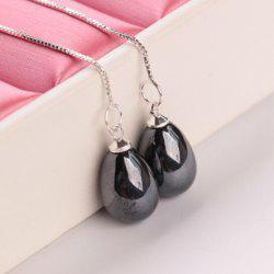 Fake Pearl Water Drop Earrings - BLACK