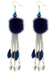Fuzzy Ball Feather Drop Earrings