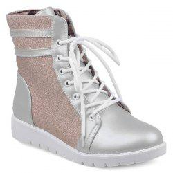 Glitter Lace Up Ankle Boots