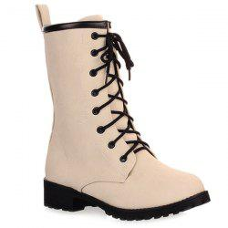 Flat Heel Faux Leather Lace Up Boots