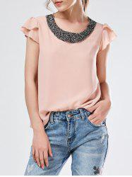 Beaded Flounced Chiffon Blouse -