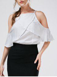 Spaghetti Strap Cold Shoulder Chiffon Blouse -