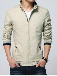 Stand Collar Pocket Contrast Trim Jacket