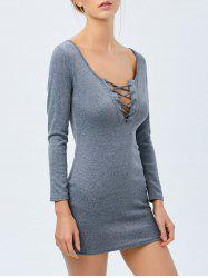 Lace Up Long Sleeve Casual Fitted Dress