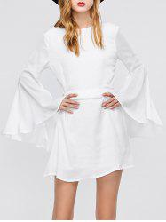 Long Flare Sleeve Backless Short Dress - WHITE