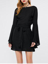 Long Flare Sleeve Backless Short Dress