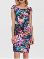 Square Neck Feather Printed Dress - COLORFUL
