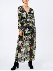 Floral Printed Surplice Maxi Dress